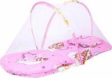 MagiDeal Moskitonetz Moskito Insektenschutz Babybett Bett Netz Baldachin mit Kissen - Rosa