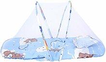 MagiDeal Moskitonetz Moskito Insektenschutz Babybett Bett Netz Baldachin mit Kissen - Blau