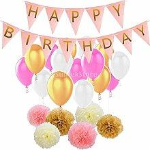 MagiDeal Papier Pom Poms Banner Latex Ballon Set, Seidenpapier PomPom Bunting Luftballons Dekoration für Geburtstag