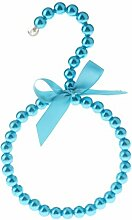 MagiDeal Perlen Schalbügel Krawattenbügel Tuchbügel Kleiderbügel mit Bowknot - Blau