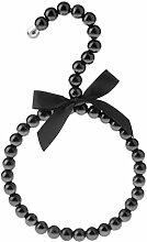 MagiDeal Perlen Schalbügel Krawattenbügel Tuchbügel Kleiderbügel mit Bowknot - Schwarz