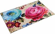 MagiDeal Rutschfeste Badematte Badteppich aus PVC Teppich für Badezimmer - Blumen, 50x80x0.4cm