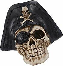 MagiDeal Schädel deko Gothic Piraten Totenkopf Harz Dekoration Figur für Halloween Partys Karneval