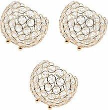 MagiDeal Set of 3 Kristall Votive Teelicht Kerzehalter Kerzenständer Kerzenleuchter Stimmungsleuchten Gold Hochzeit Romantische Dekoration
