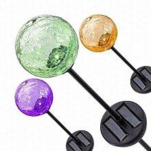MagiDeal Solar Glas Gartenstecker Licht Führte Lampe Kugel Garten Rasen Dekor Farbe Wechselnden