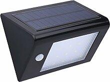 MagiDeal Solarleuchte 20 LED Solarlampe, Solar-Bewegungs-Sensor-Licht, Wasserdichte Sicherheit Solarbetriebene Außenleuchte PIR Menschliche Bewegung - Schwarz