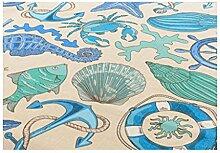 MagiDeal Tischdecke Leinen Meer Stil, Leinendecke Größe und Farbe wählbar - Kompass, 200 * 140cm