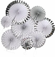 MagiDeal Tissue Papier Fan, Papier Pinwheel, 8pcs / Set, Hochzeit Geburtstag Feier Party Dekoration - Silber 1, 20cm