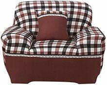 MagiDeal Weiche Stretch Sofabezüge Sofahusse, Landhausstil Weiche Hussen für 1-/2-/3-Sitzer Couch Sofa - Braun Plaid, 90-140cm