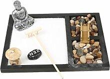 MagiDeal Zen Garten Sand Tray Buddha Stein Rake