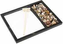 MagiDeal Zen Garten Sand Tray Stein Holz Rake Set
