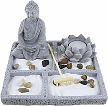 MagiDeal Zen Garten Satz Meditationsgarten Fengshui Dekor, inkl Buddha Lotus Statue Stein Tray Rake