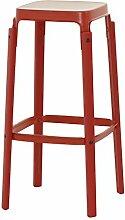 Magis matt Steelwood Hocker, Rot, High - 78cm