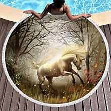 Magisch Pferd Wald Druck Runde Strandtüch mit