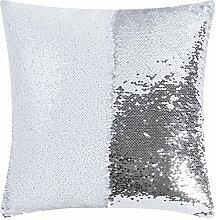 Magma Heimtex Wende-Pailletten Kissenhülle VANITY 40 x 40 cm (weiß / silber)
