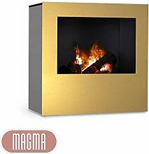 Magma Infrarotkamin (Gold/Grau), beheizbarer elektrischer Kaminofen mit Optimyst Flammensimulation