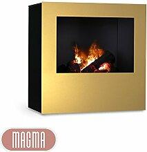 Magma Infrarotkamin (Gold/Schwarz), beheizbarer elektrischer Kaminofen mit Optimyst Flammensimulation