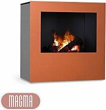 Magma Infrarotkamin (Kupfer/Grau), beheizbarer elektrischer Kaminofen mit Optimyst Flammensimulation