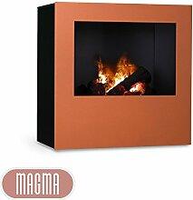 Magma Infrarotkamin (Kupfer/Schwarz), beheizbarer elektrischer Kaminofen mit Optimyst Flammensimulation
