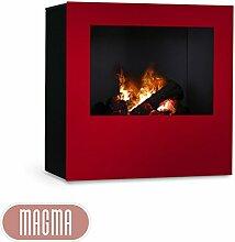 Magma Infrarotkamin (Rot/Schwarz), beheizbarer elektrischer Kaminofen mit Optimyst Flammensimulation