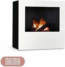 Magma Infrarotkamin (Weiß/Schwarz), beheizbarer elektrischer Kaminofen mit Optimyst Flammensimulation