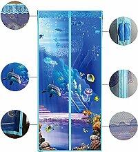 Magnet fliegengitter tür Vorhang anti-insekten, Insektenschutz fliegengitter tür Seaworld Mesh Vorhang Schließt automatisch Insektenschutz Lässt frische luft rein-Blau 100 x 210cm