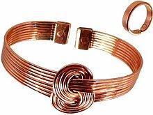 magnet kupfer Knoten Armband und glatte oberfläche Magnet Kupfer ring Kombi Geschenkset - MEDIUM RING SIZE: 19 - 21mm