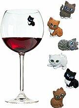 Magnetische Kätzchen Charms für Weingläser (auch stiellose) – Tolles Geschenk für Kaztenliebhaber – 6 Verschiedene Katzen im Se