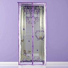 Magnetischer Türvorhang, Insektenschutz 100x210cm, Fliegengitter Balkontür Magnetisch für Fenster und Türen (Lila Vogel)