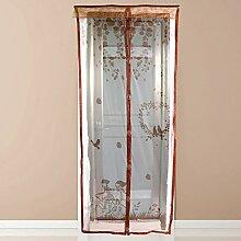 Magnetischer Türvorhang, Insektenschutz 100x210cm, Fliegengitter Balkontür Magnetisch für Fenster und Türen (kaffeebraun Vogel)