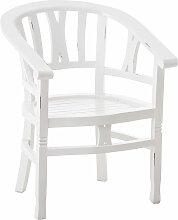 Mahagoni Stuhl Erwin mit Holzsitz-antik_weiß