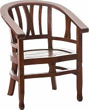 Mahagoni Stuhl Erwin mit Holzsitz-rustic