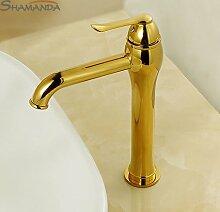 Maifeini Badezimmer Produkte Gold Beendete Die Warmes Und Kaltes Wasser Waschbecken Armaturen, Zhang Griff Hahn -, Gelb