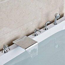Maifeini Chrom Bad Warmes Und Kaltes Tippen Massiv Messing Ausziehbare Badewanne Armatur, Stil 1