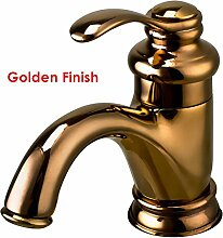 Maifeini Classic Rot Kupfer Waschtischmischer Chrom Goldenes Waschbecken Wasserhahn Messing Antik Messing Tippen, Gelb
