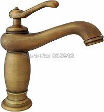Maifeini Deck Messing Antik Einzigen Griff Waschbecken Badezimmer Armaturen Schiff Waschbecken Mischbatterie, Messing, Gelb