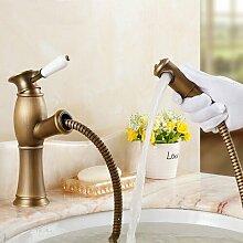 Maifeini Deck Messing Antik Ziehen Sie Ein Badezimmer Faucet Single Keramik Griffen Einzelne Bohrung Kessel Kühlkörper Mischbatterie-