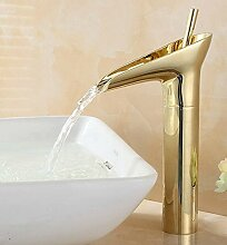 Maifeini Die Neue Große Wasserfall Vergoldetem Messing Luxus Badezimmer Waschbecken Serie Einziges Schiff Waschbecken Mischbatterie Deck, Messing, Gelb