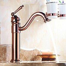 Maifeini Hohen Bogen Neue Deck Badezimmer-Eitelkeit Pool Mischbatterien Chrom Poliert - Tippen Sie Auf Wasserfall Armatur Badarmaturen -, Pink Gold