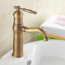 Maifeini Messing Antik Single Handle Faucet Rotation Badezimmer Schiff Waschbecken Waschbecken Mischbatterie, Messing