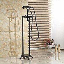 Maifeini  Moderne Dual Cross Griff Ständigen Stock Badewanne Armatur Wasserhahn Mit Abnehmbarem Duschkopf, Schwarz