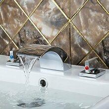 Maifeini Moderne Verbreitete Badezimmer Bathtubfiller Armatur Mit Handbrause Einstellen 11 Ein Deck Dusche Badezimmer Messing Wasserhahn, Wasserhähne, Weiß