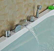 Maifeini  Moderne Waterfbathroom Tub Faucet 5 Pcs Deck Montiert Waschbecken Mischbatterie W/Hand Feldspritze, Klar