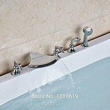 Maifeini Neu Im Modernen Stil Badewanne Armatur Mit Handbrause Deck Mounttub Drei Griffe, Multi Tap