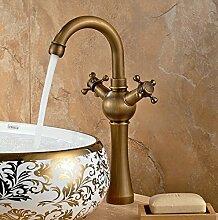 Maifeini  Versand Messing Antik Finish Becken Armaturen Dual Hand Heiße Und Kalte Waschbecken Bad Armatur Hj-2686 Tippen, Bronze
