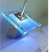 Maifeini Waschbecken Armaturen_Supply Glas Wasserfall Waschbecken Waschbecken Wasserhahn (Batteriestrom) Led