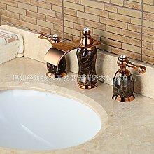 Maifeini Wasserfall Armatur Waschbecken Armaturen_Natürliche Jade, Goldene Armaturen, Waschbecken Fäll