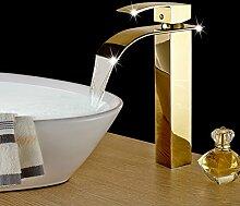 Maifeini Wasserfall Wasserhahn Schön _ Vergoldete Kupfer Wasserfall Wasserhahn Waschbecken Wasserhahn Gold Vergoldet Badezimmer Waschbecken