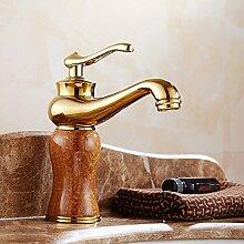 Maifeini Wc-Armaturen_Continental Antik Braun Jade Waschbecken Wasserhahn Warmes Und Kaltes Kupfer Waschbecken Waschbecken