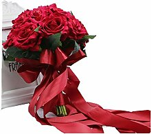 MAILANG Vintage Rote Brautstrauß Kristall Rose
